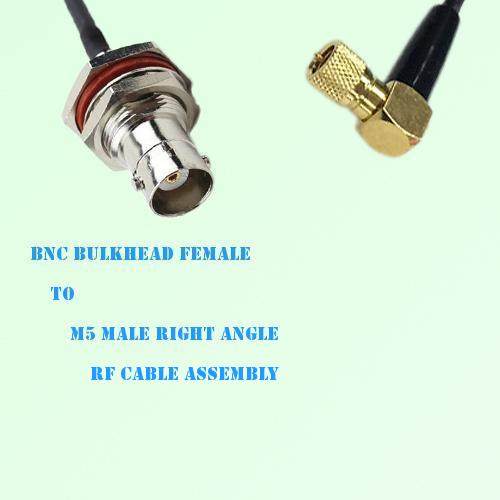 BNC Bulkhead Female to Microdot 10-32 M5 Male R/A RF Cable Assembly