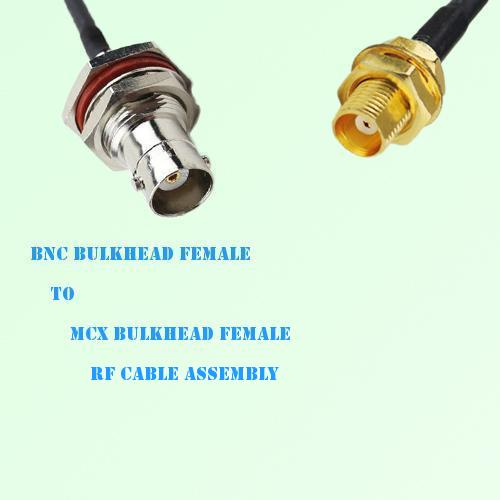 BNC Bulkhead Female to MCX Bulkhead Female RF Cable Assembly