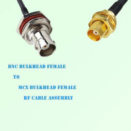 BNC Bulkhead Female to MCX Bulkhead Female RF Cable Assembly