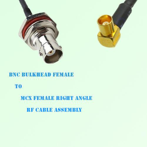 BNC Bulkhead Female to MCX Female Right Angle RF Cable Assembly