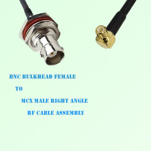 BNC Bulkhead Female to MCX Male Right Angle RF Cable Assembly