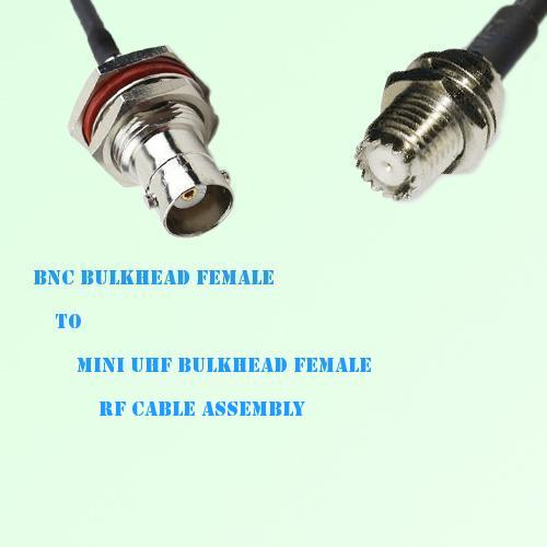 BNC Bulkhead Female to Mini UHF Bulkhead Female RF Cable Assembly
