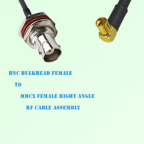 BNC Bulkhead Female to MMCX Female Right Angle RF Cable Assembly