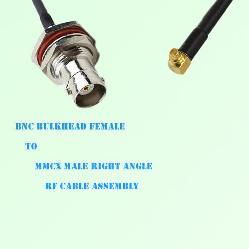 BNC Bulkhead Female to MMCX Male Right Angle RF Cable Assembly