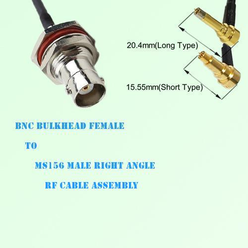 BNC Bulkhead Female to MS156 Male Right Angle RF Cable Assembly