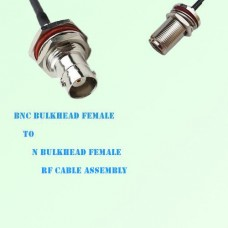BNC Bulkhead Female to N Bulkhead Female RF Cable Assembly