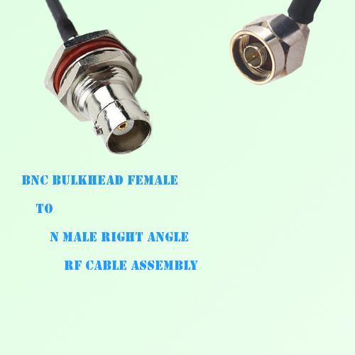 BNC Bulkhead Female to N Male Right Angle RF Cable Assembly