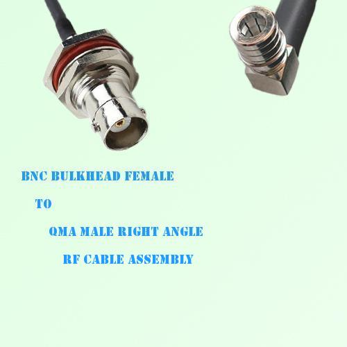 BNC Bulkhead Female to QMA Male Right Angle RF Cable Assembly