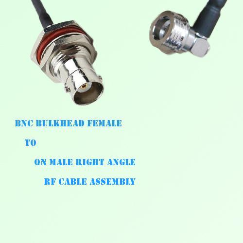 BNC Bulkhead Female to QN Male Right Angle RF Cable Assembly
