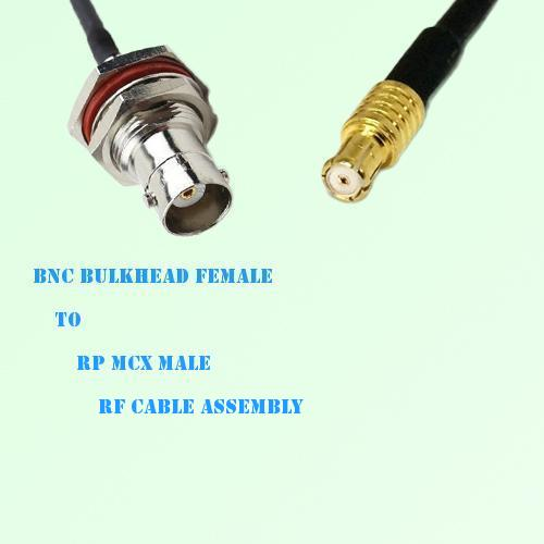 BNC Bulkhead Female to RP MCX Male RF Cable Assembly