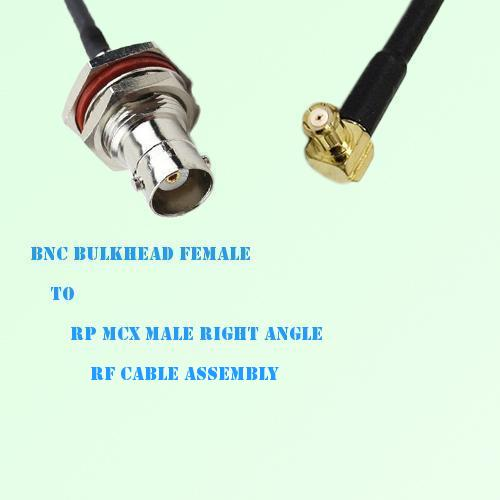 BNC Bulkhead Female to RP MCX Male Right Angle RF Cable Assembly