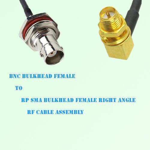 BNC Bulkhead Female to RP SMA Bulkhead Female R/A RF Cable Assembly