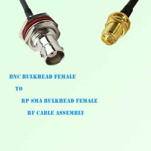 BNC Bulkhead Female to RP SMA Bulkhead Female RF Cable Assembly