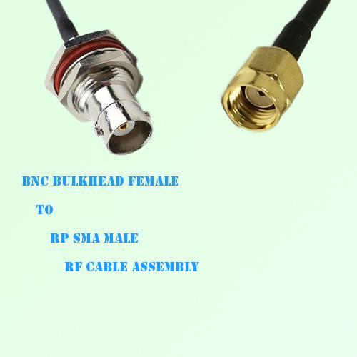 BNC Bulkhead Female to RP SMA Male RF Cable Assembly