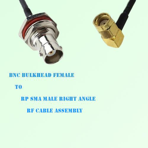 BNC Bulkhead Female to RP SMA Male Right Angle RF Cable Assembly