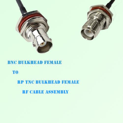 BNC Bulkhead Female to RP TNC Bulkhead Female RF Cable Assembly