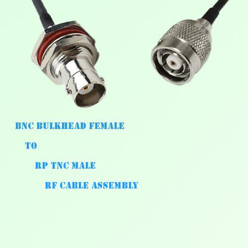 BNC Bulkhead Female to RP TNC Male RF Cable Assembly