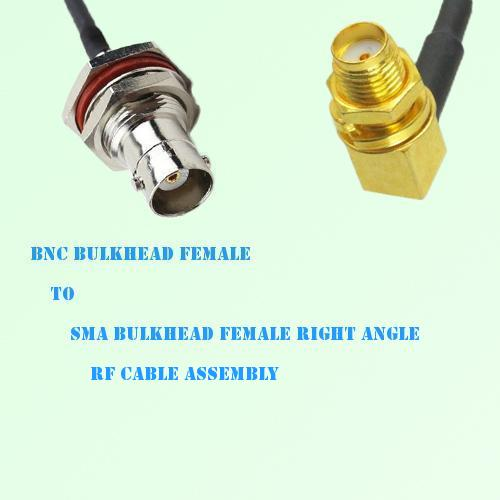 BNC Bulkhead Female to SMA Bulkhead Female R/A RF Cable Assembly