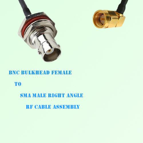 BNC Bulkhead Female to SMA Male Right Angle RF Cable Assembly