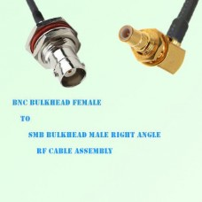 BNC Bulkhead Female to SMB Bulkhead Male Right Angle RF Cable Assembly