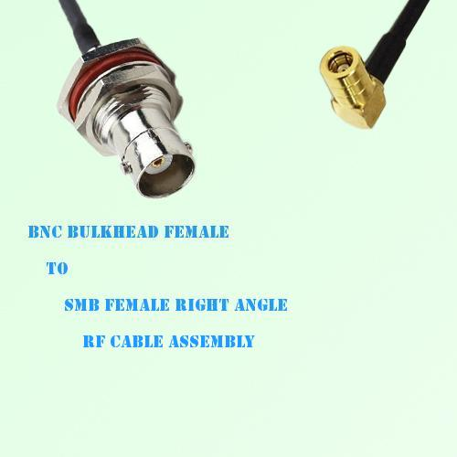 BNC Bulkhead Female to SMB Female Right Angle RF Cable Assembly