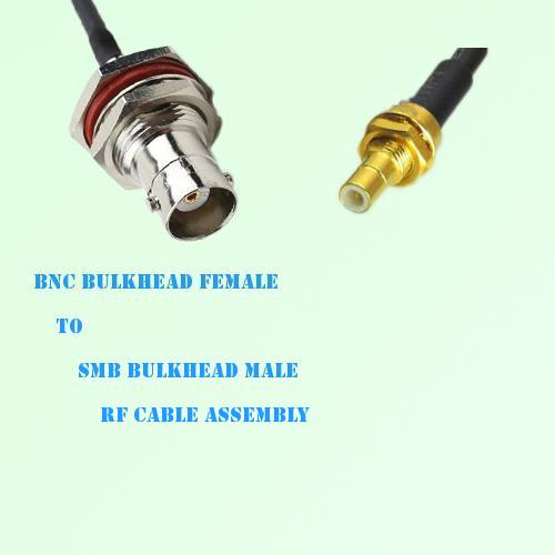 BNC Bulkhead Female to SMB Bulkhead Male RF Cable Assembly