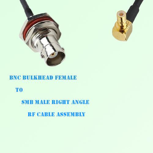 BNC Bulkhead Female to SMB Male Right Angle RF Cable Assembly