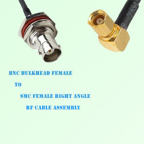 BNC Bulkhead Female to SMC Female Right Angle RF Cable Assembly