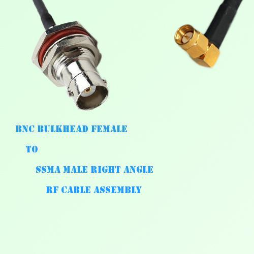 BNC Bulkhead Female to SSMA Male Right Angle RF Cable Assembly
