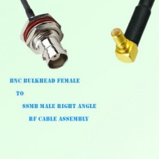 BNC Bulkhead Female to SSMB Male Right Angle RF Cable Assembly