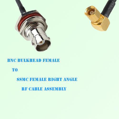 BNC Bulkhead Female to SSMC Female Right Angle RF Cable Assembly