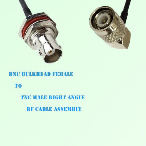 BNC Bulkhead Female to TNC Male Right Angle RF Cable Assembly