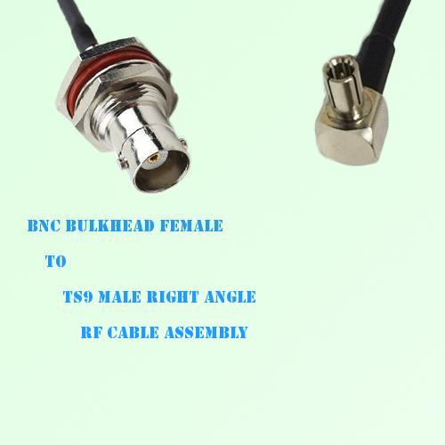 BNC Bulkhead Female to TS9 Male Right Angle RF Cable Assembly