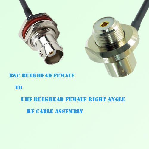 BNC Bulkhead Female to UHF Bulkhead Female R/A RF Cable Assembly