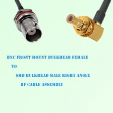 BNC Front Mount Bulkhead Female to SMB Bulkhead Male R/A RF Cable