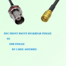 BNC Front Mount Bulkhead Female to SMB Female RF Cable Assembly
