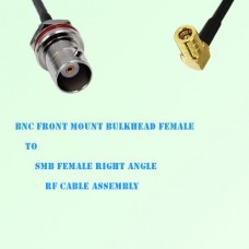 BNC Front Mount Bulkhead Female to SMB Female R/A RF Cable Assembly