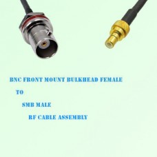 BNC Front Mount Bulkhead Female to SMB Male RF Cable Assembly