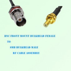 BNC Front Mount Bulkhead Female to SMB Bulkhead Male RF Cable Assembly