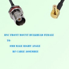 BNC Front Mount Bulkhead Female to SMB Male R/A RF Cable Assembly