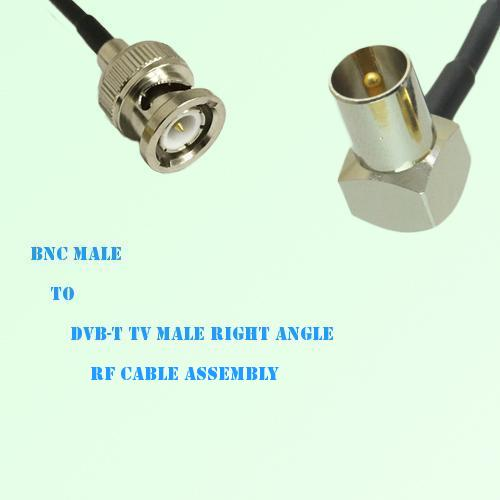 BNC Male to DVB-T TV Male Right Angle RF Cable Assembly