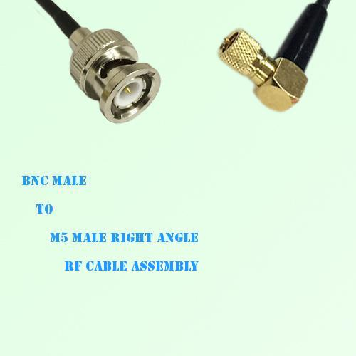 BNC Male to Microdot 10-32 M5 Male Right Angle RF Cable Assembly