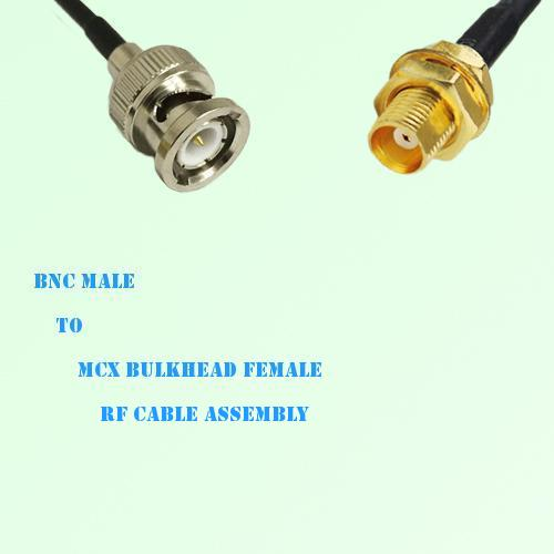 BNC Male to MCX Bulkhead Female RF Cable Assembly