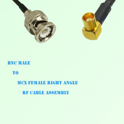 BNC Male to MCX Female Right Angle RF Cable Assembly