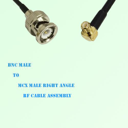 BNC Male to MCX Male Right Angle RF Cable Assembly