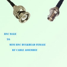 BNC Male to Mini BNC Bulkhead Female RF Cable Assembly