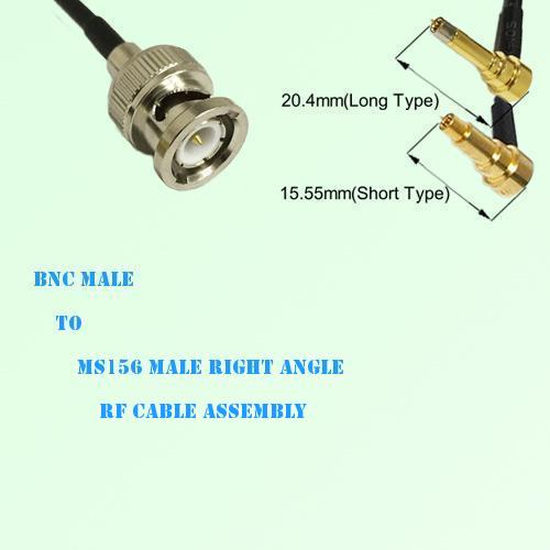 BNC Male to MS156 Male Right Angle RF Cable Assembly