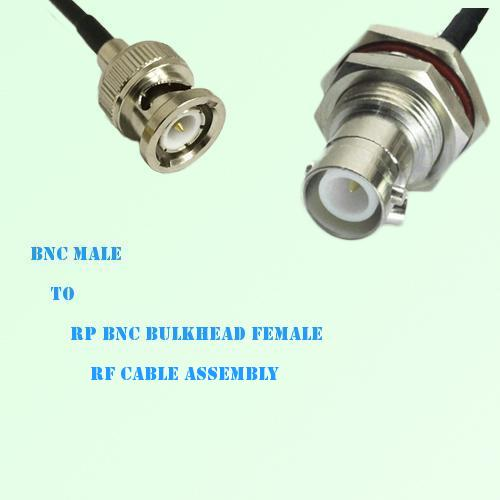 BNC Male to RP BNC Bulkhead Female RF Cable Assembly