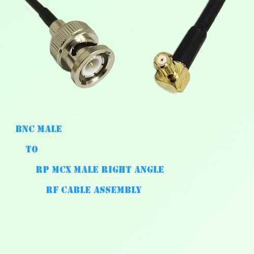 BNC Male to RP MCX Male Right Angle RF Cable Assembly