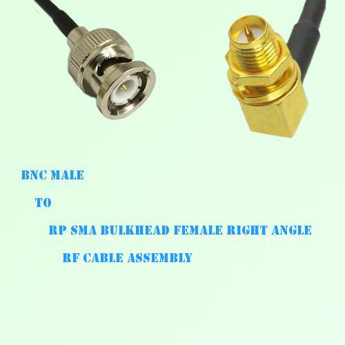BNC Male to RP SMA Bulkhead Female Right Angle RF Cable Assembly